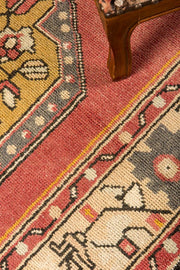 3x9 Red Vintage Turkish Runner Rug