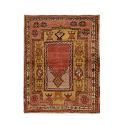 3x3 Red Vintage Turkish Area Rug