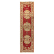 3x12 Red Vintage Turkish Runner Rug