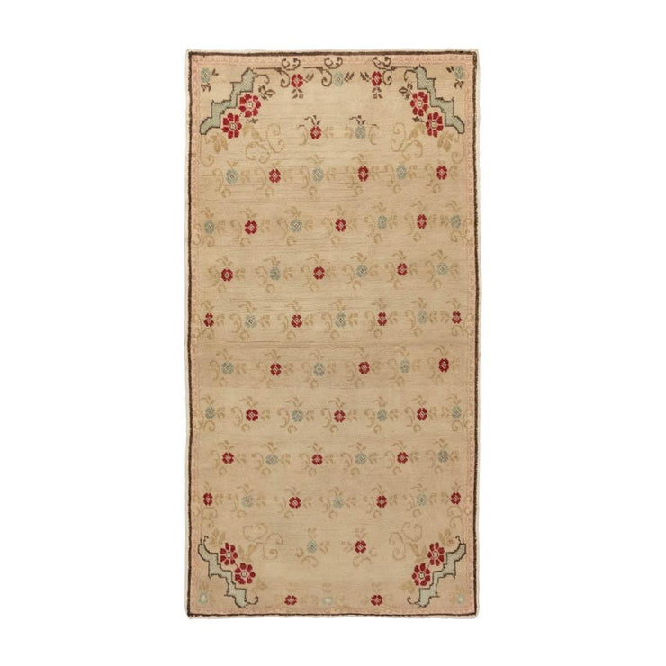 3x6 Beige Vintage Turkish Area Rug