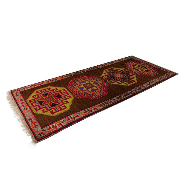 3x8 Brown Vintage Turkish Runner Rug