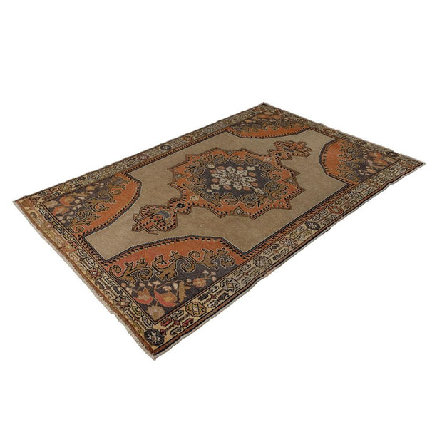 4x7 Yellow Vintage Turkish Area Rug