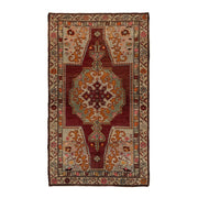 4x7 Red Vintage Turkish Area Rug