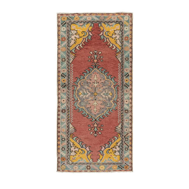 2x5 Red Vintage Turkish Area Rug