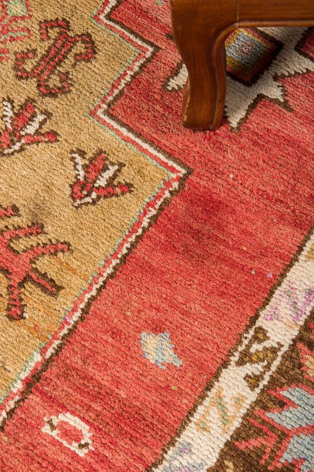 3x14 Red Vintage Turkish Runner Rug