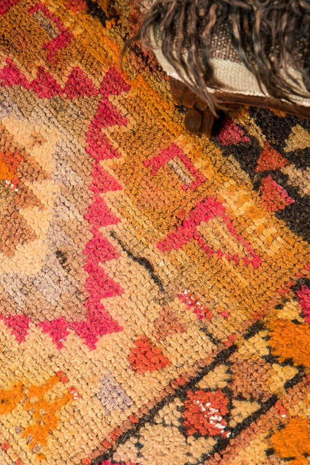 3x7 Yellow Vintage Turkish Runner Rug