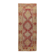3x8 Red Vintage Turkish Runner Rug