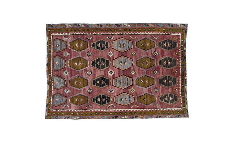 8x11 Rust Vintage Turkish Flatwoven Area Kilim Rug