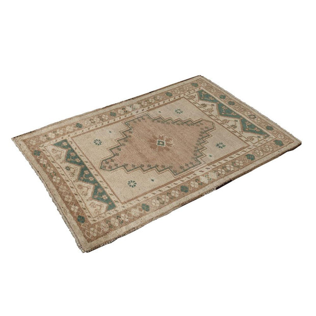 2x3 Beige Vintage Turkish Area Rug