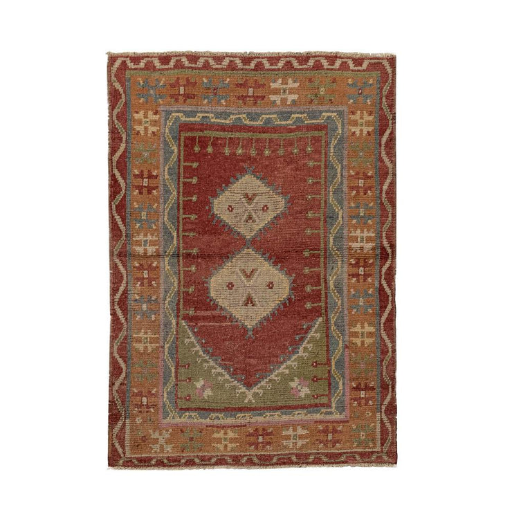 3x5 Red Vintage Turkish Area Rug