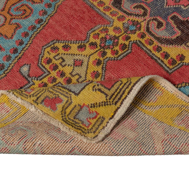 4x7 Red Vintage Turkish Runner Rug