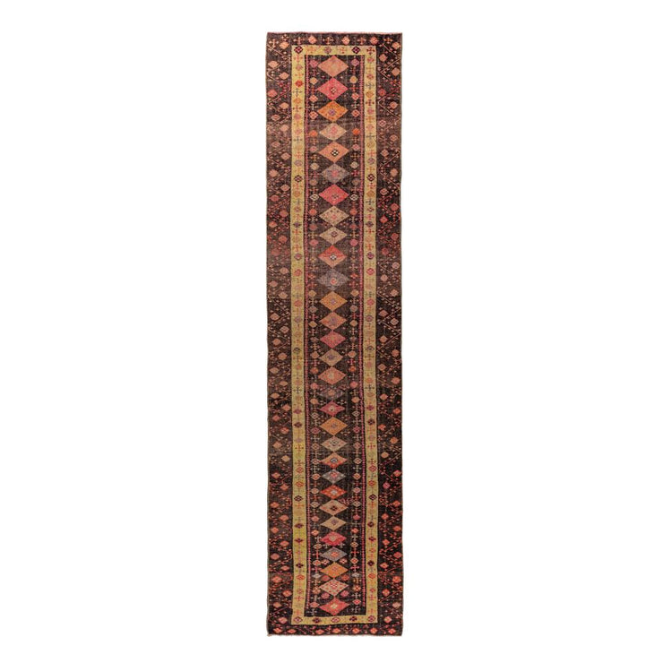 3x14 Purple Vintage Turkish Runner Rug