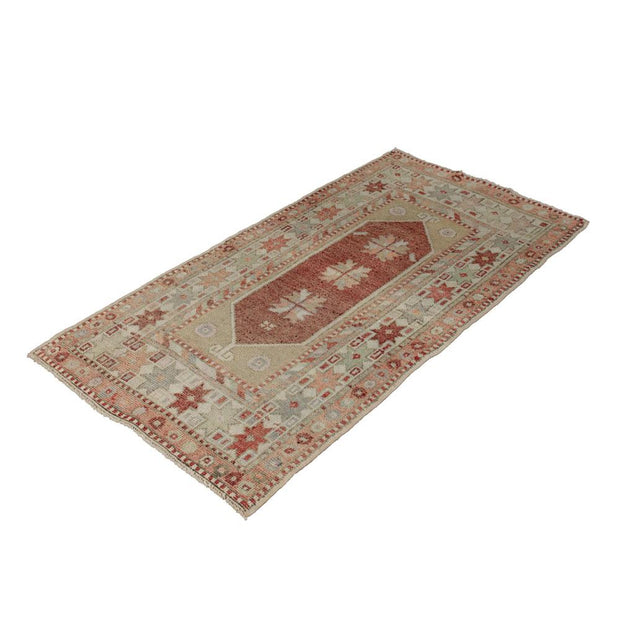 2x4 Red Vintage Turkish Area Rug