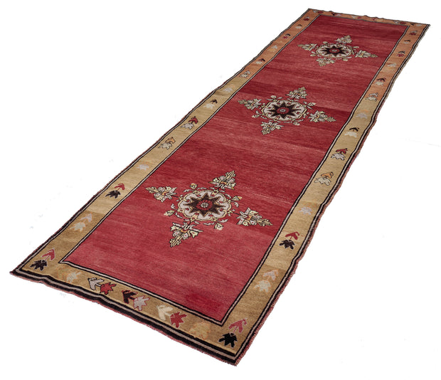 4x14 Red Vintage Turkish Runner Rug