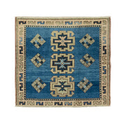3x3 Blue Vintage Turkish Area Rug