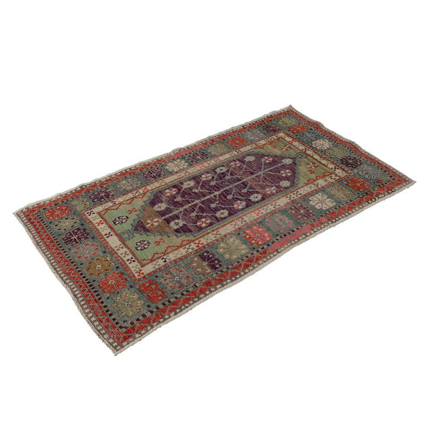 2x5 Purple Vintage Turkish Area Rug
