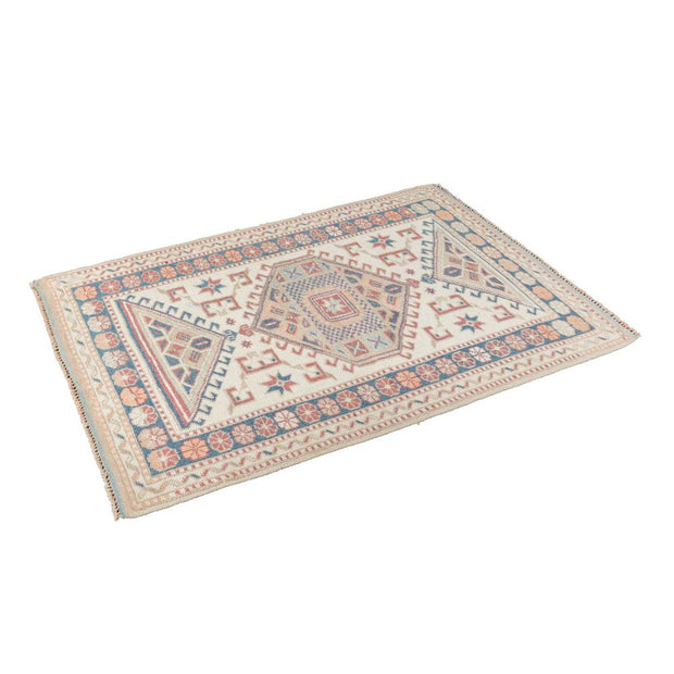 3x4 Ivory & White Vintage Turkish Area Rug
