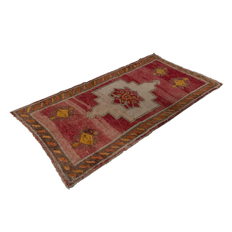 3x6 Red Vintage Turkish Area Rug