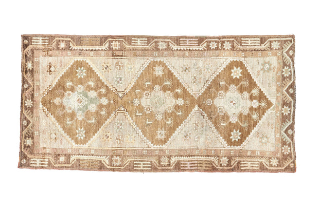 4x10 Green Vintage Turkish Runner Rug