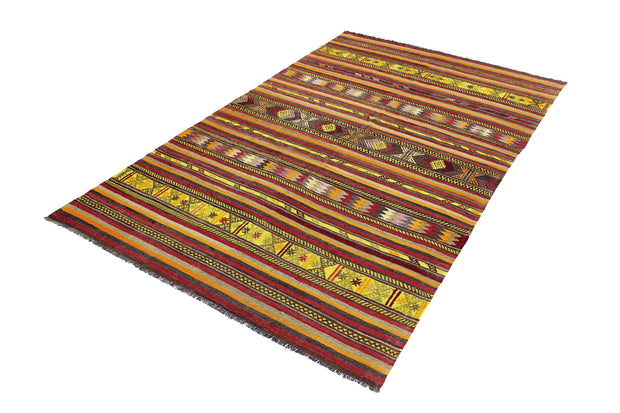 6x10 Red Vintage Stripped Turkish Flatwoven Area Kilim Rug