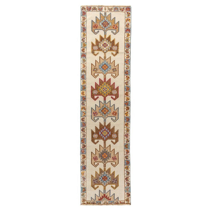 3x12 Beige Vintage Turkish Runner Rug