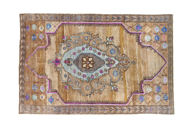 6x9 Brown Vintage Eastern Turkish Handknotted Kurdish Area Rug