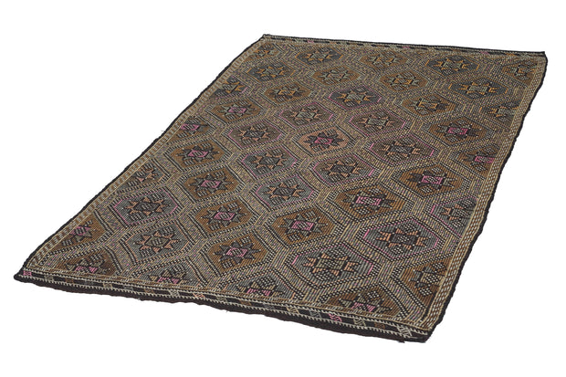 6x9 Brown Vintage Turkish Flatwoven Area Kilim Rug