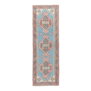 3x9 Blue Vintage Turkish Runner Rug