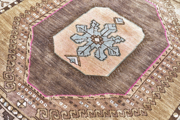 5x12 Brown Vintage Turkish Runner Rug