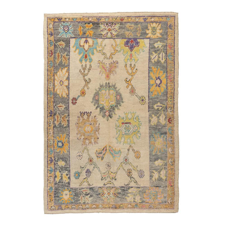 5x7 Yellow Vintage Oushak Area Rug