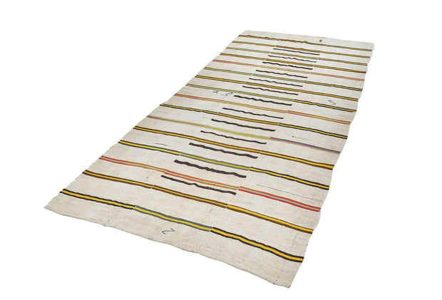5x13 Ivory & White Vintage Turkish Runner Rug