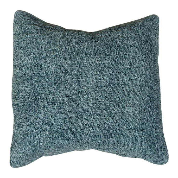 Designer Wool Blue Sofa Pillow