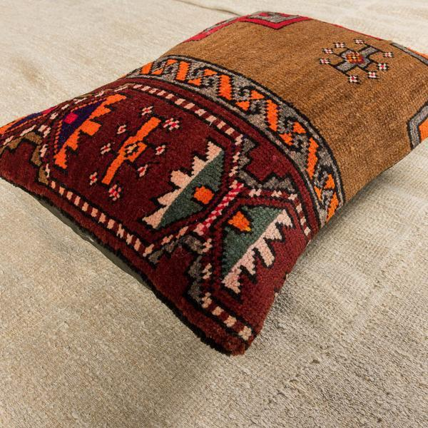 Luxury Wool Red & Brown Sofa Pillow-Turkish Rugs-Oriental Rugs-Kilim Rugs-Oushak Rugs