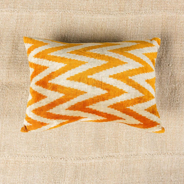 Modern Velvet Orange Sofa Pillow-Turkish Rugs-Oriental Rugs-Kilim Rugs-Oushak Rugs