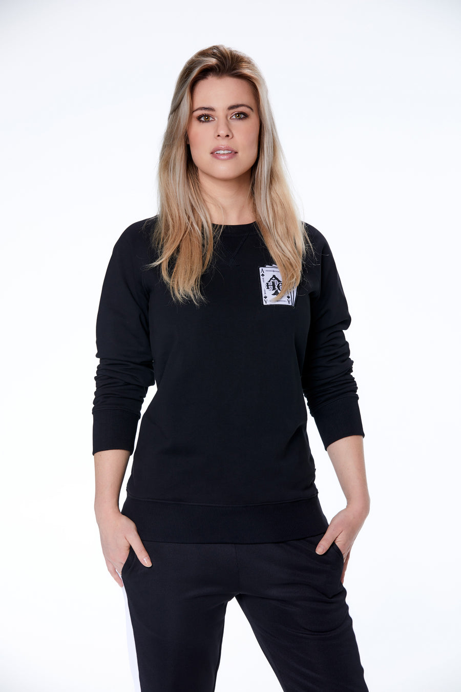 Playing card logo sweater Dames
