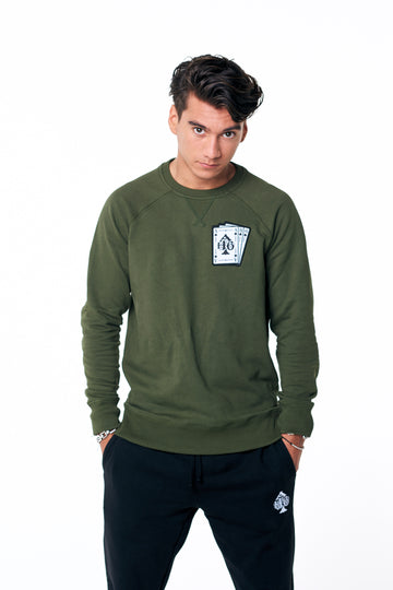 Playing card logo sweater Army