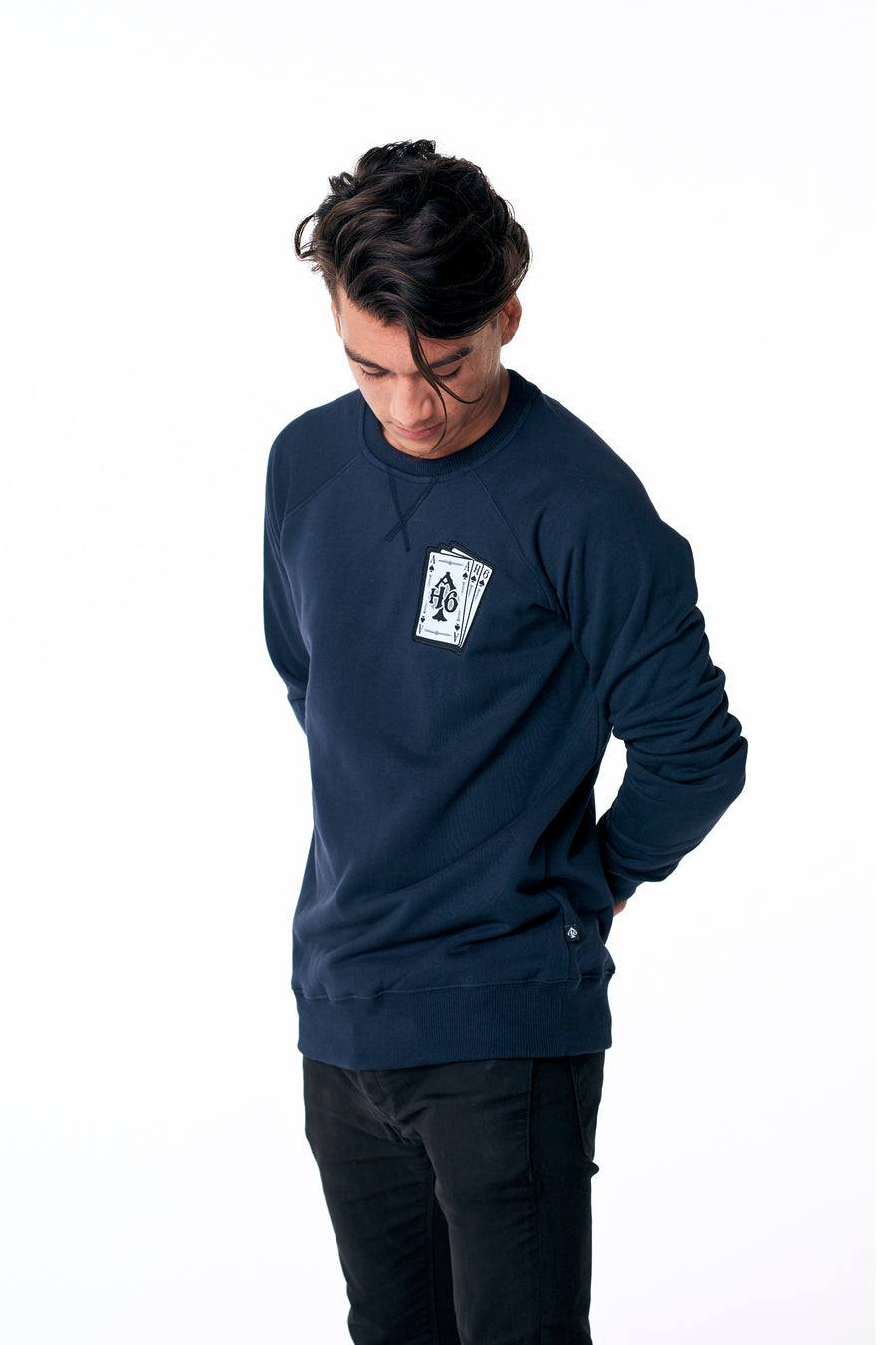 Playing card logo sweater Navy