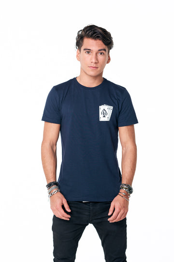 Playing cards tee Navy