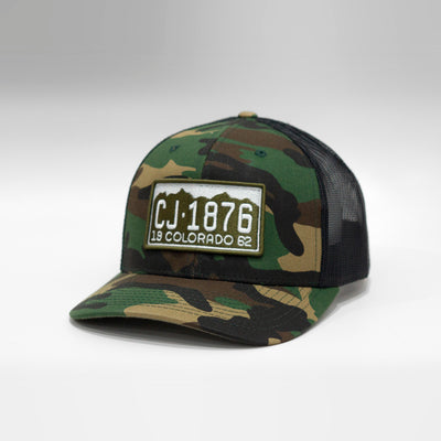 Colorado Vintage License Plate Curved Brim Snapback Cap