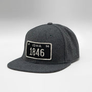 Iowa Vintage License Plate Flat Melton Wool Snapback Cap