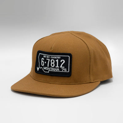 Montana Vintage License Plate Curved Blue-Collar Canvas Cap