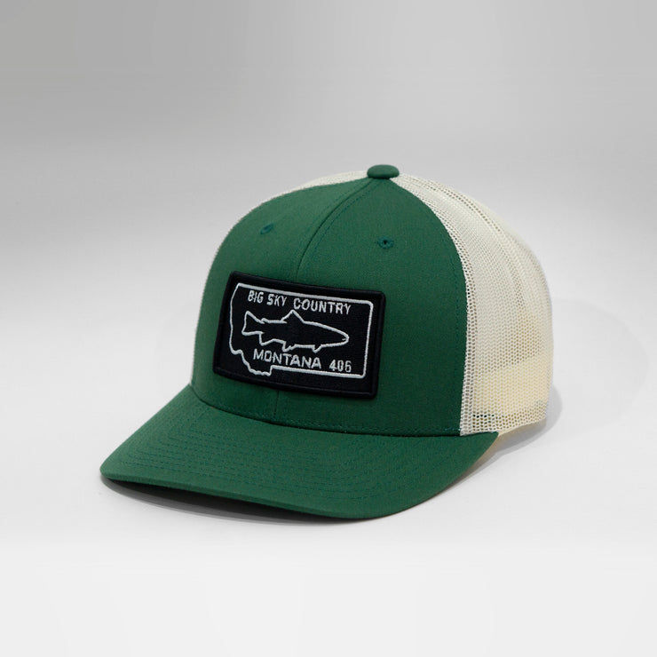 Montana Fish Vintage License Plate Snapback Cap.