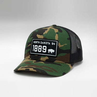 North Dakota Vintage License Plate Curved Brim Snapback Cap