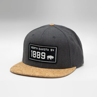North Dakota Vintage License Plate Cork Flat Brim Snapback Cap