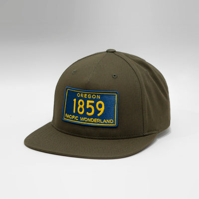 Oregon Vintage License Plate 5 Panel Snapback Cap
