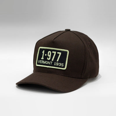Vermont Vintage License Plate Curved Blue-Collar Canvas Cap