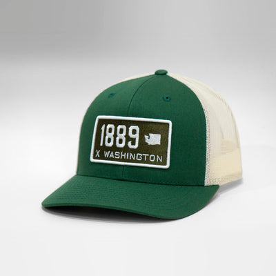 Washington State Vintage License Plate Curved Brim Snapback Cap