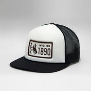 Wyoming Vintage License Plate Flat Foam Trucker Snapback Cap