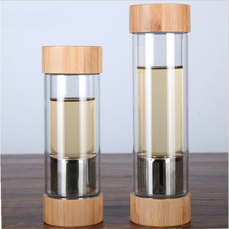 300ml 400ml Glass Water Bottles With Tea Infuser Shaker Double Wall Tea Drink Bottled For Water Two Mouths Bamboo Lid