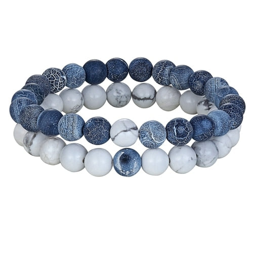 Two Piece Couple Distance Natural Stone Bracelets